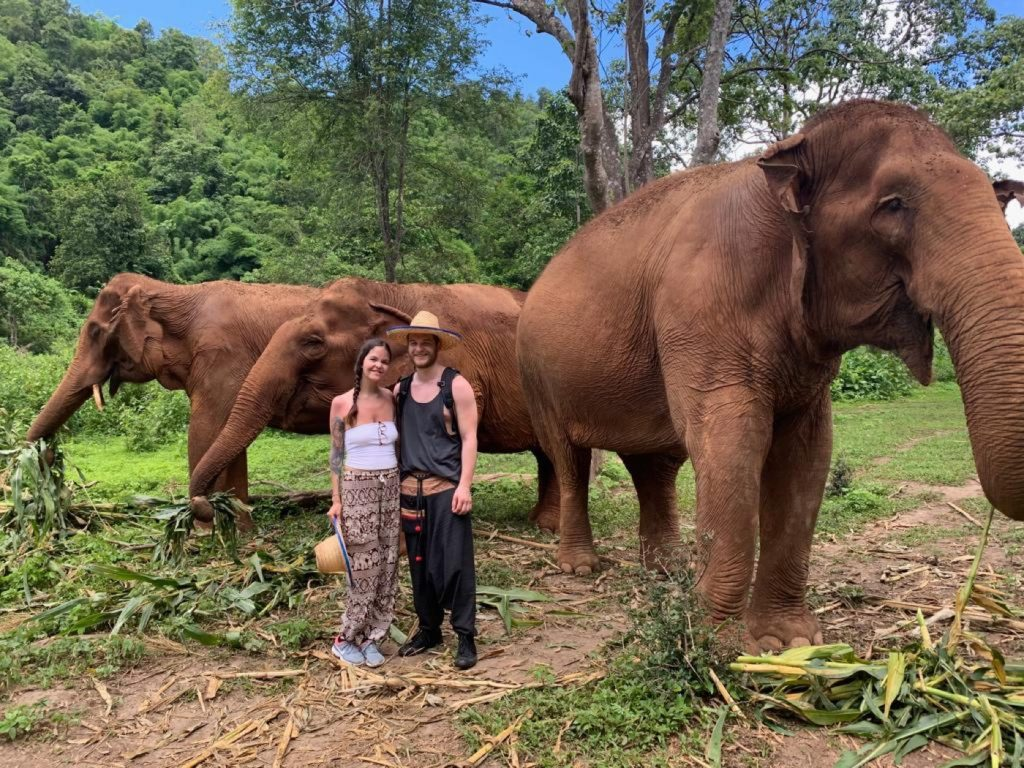 Photo of us smiling with elephants