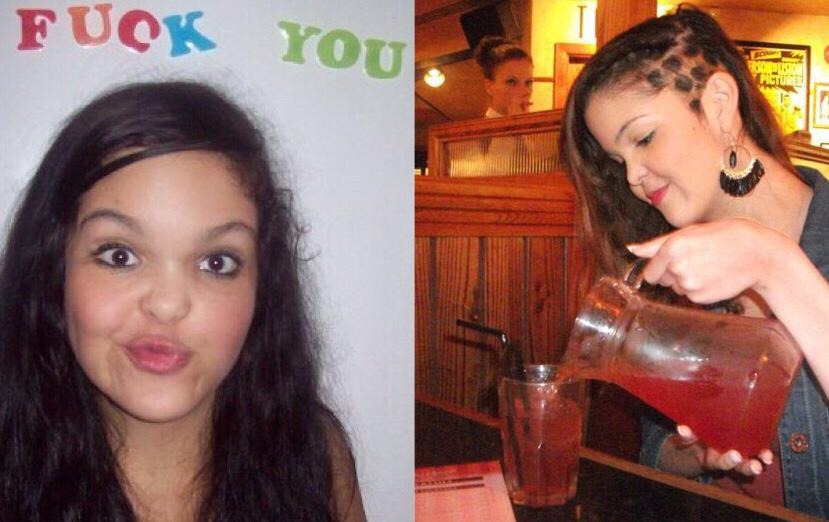 Left is a photo of Poppy as a teenager pulling a funny face, above her head are letter stickers spelling out 'Fuck You', on the right is a photo of Poppy pouring a glass of cocktail from a jug